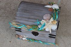 Large Beach Themed Wedding Treasure Chest-Rustic Card Box or Centerpiece by LittleBitMyStyle on Etsy https://www.etsy.com/listing/218657470/large-beach-themed-wedding-treasure