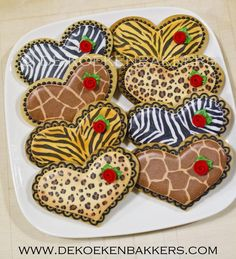 Zebra, tiger, giraffe, leopard, animal print cookie hearts