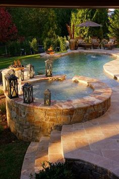 I would take a dip in this lovely stone pool! What about you?