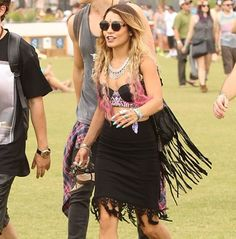 Vanessa Hudgens does Coachella cool on this For Love & Lemons skirt. Shop the brand in the UK at shopnepenthe.com launching mid July