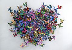David Kracov, contemporary artist. Butterfly metal sculpture: My Heart is All a Flutter