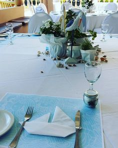 Boat napkin fold at our nautical themed christening!
