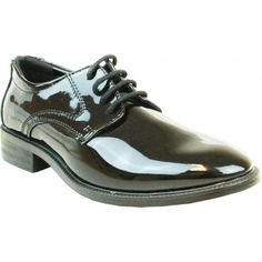 ed5bbed0276 Boy s classic black patent leather tuxedo shoe with round toe. This  synthetic