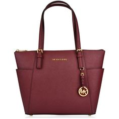 Michael Michael Kors Jet Set Travel Tote ($340) ❤ liked on Polyvore featuring bags, handbags, tote bags, merlot, genuine leather tote, leather purse, leather handbags, red leather handbag and leather travel purse