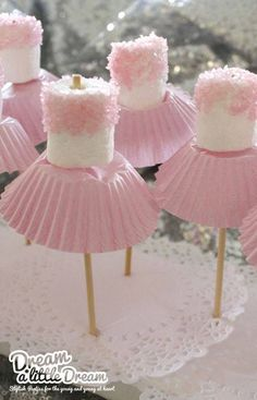 Marshmallow ballerinas Oh goodness - now, we've all seen cake pops, and we all know about what fun they can be for a party... so how about this for a theme, the ballerina party, complete with little marshmallow ballerinas!! We…