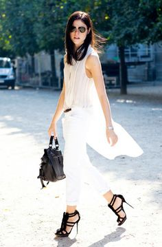 Make a statement in a breezy, oversized blouse and white trousers this summer. #streetstyle