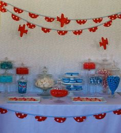 Red & Blue Candy Table: Airplane Birthday Party
