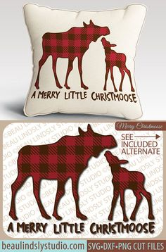 2 Plaid Moose, Christmas SVG File, Christmas Clipart, Merry Little Christmas SVG, Holiday SVG File For Silhouette Pattern, Christmoose svg File For Cricut DXF File, PNG Image File. This is a fun Christmas design that's a play on words, that'll make everyone smile! The design is great for so many different projects, like Cabin Christmas Decor, Vinyl Window Clings, Vinyl Wall Art, HTV or Fabric Die Cut Appliqué for a DIY Shirt, Sweatshirt or Hoodie and more! By: www.beaulindslystudio.com