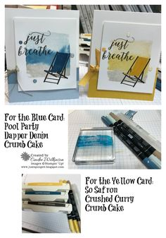 Just Breathe – Just Sponge It! Stampin' Up! Colorful Seasons, Color Theory DSP Stack, the colors in the Paper Stack are, Berry Burst, Old Olive, Crushed Curry, & Dapper Denim
