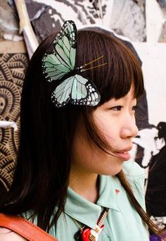 Large Mint Butterfly Hair clip