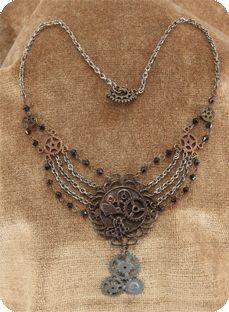 steampunk chain gear necklace antique