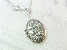 Silver Locket Necklace - Silver Rose Garden - ROSE LOCKET -  The ORIGINAL - Jewelry by BirdzNbeez -  Wedding Birthday Bridesmaids Gift