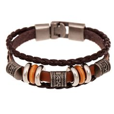 2016 New Fashion Genuine Leather Charm Bracelets For Women Men Vintage Beaded Braided Bracelets Bangles Wholesale *** See this great product.