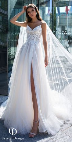 Wedding Dress Ball Gown Crystal Designs Wedding Dresses 2019 - Paris Collection - Sophisticated, romantic, glamorous and a bit sexy, Crystal Designs Wedding Dresses 2019 are knock-your-socks-off gorgeous. Princess Bridal, Princess Wedding Dresses, Wedding Dress Styles, Dream Wedding Dresses, Designer Wedding Dresses, Bridal Dresses, Wedding Gowns, Wedding Dresses With Cape, Mermaid Dresses
