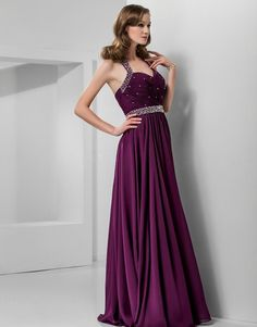 Sheath/Column Halter Floor-length #Chiffon Evening #Dress #00403295