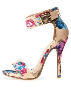 Floral Satin Single Strap Heels: Charlotte Russe #floral #CRshoecloset #heels