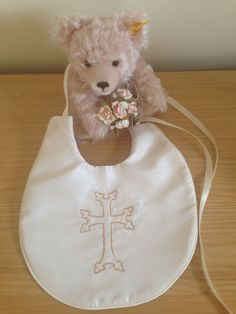Christening bib with religious cross. Christening accessories. Embroidered bib with Armenian cross.