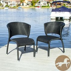 Christopher Knight Home Tampa Black Outdoor Wicker Chairs (Set of 2)   Overstock.com Shopping - Big Discounts on Christopher Knight Home Dining Chairs