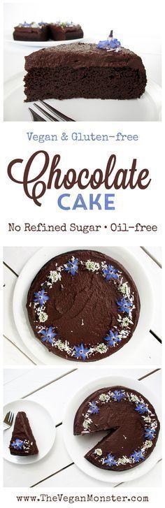 Vegan Gluten-free Oil-free Refined Sugar Free Soy-free Easy Chocolate Cake Recipe Schokoladenkuchen Rezept