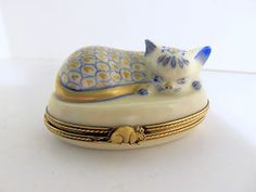 Limoges France Cat Trinket Box Peint Main L s Sleeping Cat Blue White Gold | eBay