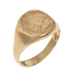 14K Solid Gold Coin signet ring, Coin Pinkie Signet Ring, Siegelring, Coin Pinkie seal ring, Signet Ring Gold, French woman engaving