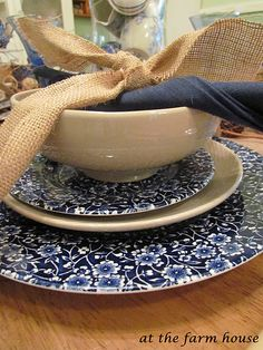 burlap and blue and white!