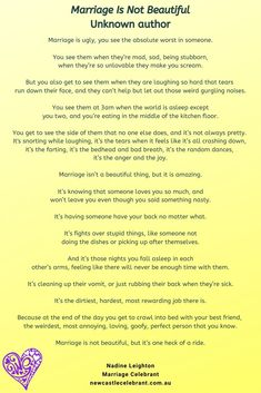 An honest poem about marriage by an unknown author. Love including meaningful readings in a wedding script. Not only have the couple chosen it because 'it is just them' but usually it makes all the guests present think beyond the fairytale Wedding Script, Wedding Quote, Wedding Readings, Wedding Ceremony, Wedding Poems Reading, Marriage Poems, Marriage Celebrant, Laughing So Hard, Be Yourself Quotes