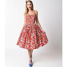 b438015d02e5 Bernie Dexter 1950s Style Red On The Road Print Cotton Paris Swing... (