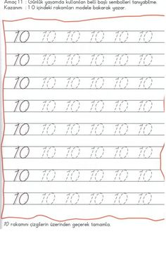 Number 10 Tracing Worksheets For Kindergarten Pre K Worksheets, Letter Tracing Worksheets, Kindergarten Worksheets, Number Tracing, Kindergarten Crafts, Worksheet For Nursery Class, Preschool Painting, Numbers Preschool, Number 10