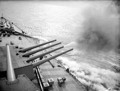 HMS Prince of Wales firing its guns on April 1941 Naval History, Military History, Hms Prince Of Wales, Navy Aircraft, Navy Ships, Submarines, King George, Royal Navy, Battleship