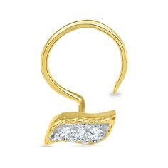 Jpearls 18kt Lahiri Nose Pin | Gold and Diamond Nose Pins