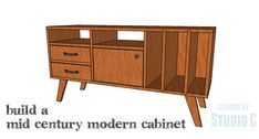 DIY Plans to Build a Mid Century Modern Cabinet Any fan of the Mid Century Modern style will love this cabinet! The DIY plans to build a Mid Century Modern Cabinet feature vertical dividers on one end Mid Century Modern Buffet, Mid Century Modern Living Room, Mid Century Modern Furniture, Midcentury Sideboard, Mid Century Cabinet, Woodworking Furniture Plans, Woodworking Projects, Modern Cabinets, Mid Century Style