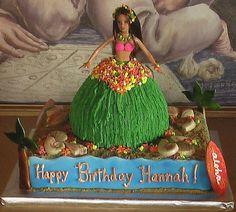Luau Birthday Cakes, 10th Birthday Parties, 7th Birthday, Birthday Ideas, Hula Girl Cakes, Hawaiian Luau Party, Barbie Cake, Cute Cakes, Cake Art