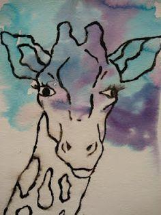 a faithful attempt: Glue Resist African Animals Watercolour – Nature African Art Projects, Animal Art Projects, African Crafts, Painting & Drawing, Watercolor Paintings, Canvas Paintings, Art Rupestre, 8th Grade Art, Giraffe Art