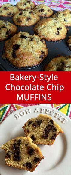 Bakery-Style Homemade Chocolate Chip Muffins Recipe   MelanieCooks.com