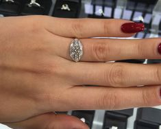 An antique style ring will be sure to stand out from the crowd! This eye-catching design has a total carat weight of and can be made to order in any metal combination of your choosing. Diamond Dealers, Best Diamond, Types Of Metal, Diamond Engagement Rings, Crowd, Delicate, Eye, Antiques, Jewelry
