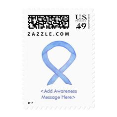 Periwinkle Awareness Ribbon Custom Postage Stamps - The periwinkle awareness ribbon color means support for Acid Reflux, Eating Disorders (Anorexia Nervosa & Bulimia Nervosa), Eosinophilic Disorders, Esophageal Cancer, Gastric Cancer, Gastroesophageal Reflux (GERD), Irritable Bowel Syndrome (IBS), Pulmonary Hypertension, Small Intestine Cancer, and Stomach Cancer. Let this periwinkle ribbon help bring awareness to these causes!