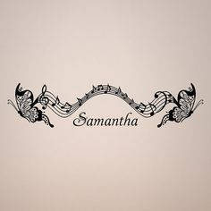 Personalized Name  Musical Flying Butterflies Butterfly Music wall vinyl design decal 48 inch