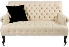 Tufted Settee w/Throw Pillow on One Kings Lane today
