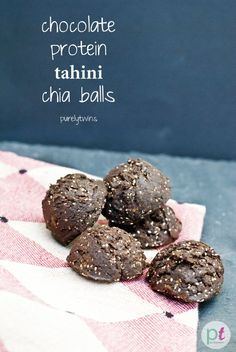 chocolate tahini protein chia seed balls: Chocolate tahini protein chia seed balls. Great healthy snack that is super easy to make with few ingredients.