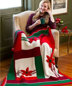 Christmas is Coming Throw Free Knitting Pattern from Red Heart Yarns