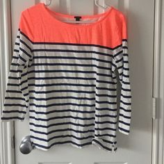 J.Crew color block Tee Navy, white striped neon orange colorblock boatneck tee from J.Crew retail. Great condition. J. Crew Tops Tees - Long Sleeve