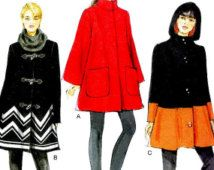 Sz 8/10/12/14/16 - Vogue Coat Pattern V8860 - Misses' Funnel Neck Trapeze Coat in Three Options - Very Easy Vogue Patterns