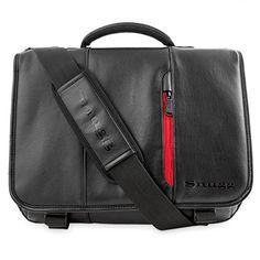 Snugg Crossbody Shoulder Leather Bag for 17Inch Laptop Black ** For more information, visit image link.