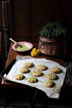 Dandelion Petal and Lemon Cookies with Kale Lemon Drizzle
