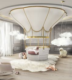 20 Luxury Dining Room with Gold Details - Kids Bedroom / Playroom - Cool Beds For Kids, Luxury Dining Room, Luxury Kids Bedroom, Luxury Nursery, Luxury Bedding, Trendy Bedroom, Modern Bedroom, Kids Bedroom Furniture, Bedroom Ideas