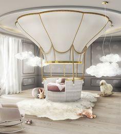 Una cama para soñar volando en globlo.