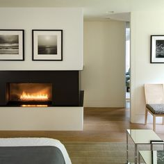 A new #fireplace transforms a #master #bedroom into a peaceful retreat. #interior #design #home #interiors #bedroom #design   #InteriorDesign: Rohrer Studio | See more projects at: http://www.HandD.com/DianneRohrer
