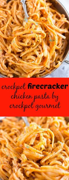 Crockpot Firecracker Chicken Pasta - so spicy and so addicting!! Creamy, simple and delicious!