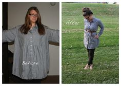 richandceleste.bl...  This was just a simple take her in job.  Turn the shirt inside out, trace a shirt that you like, and sew up the body and sleeves.  Donesies.  Rich told me to stand like a fashion blogger in this pic.  So I obliged. The best part about these new shirts is that I don't cut out what I take in so when the time comes, I can take out the seams and wham-o - maternity shirts.